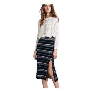 Free People Irreplaceable Black/Cream Knit Skirt S